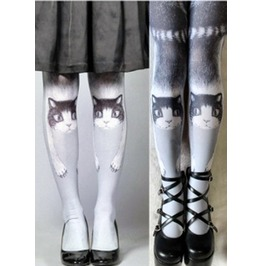 "Lolita Women's Imported ""Kitty Face"" Tights Dfg 3541 Pp"