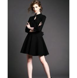 Sexy Drop Cut Lace Bow Decor Back Short Black Dress