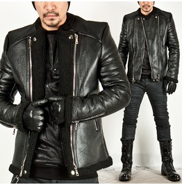 Lamb Wool Pintuck Shoulder Leather Jacket 41
