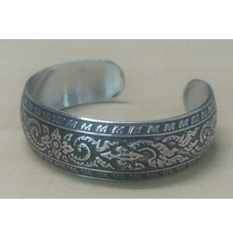 Bangle Cuff Bracelet Women Stainless Steel Antique Thai Design Pattern Emboss Silver Color 2