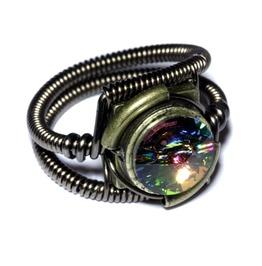 Steampunk Jewelry Ring Vitrail Crystal