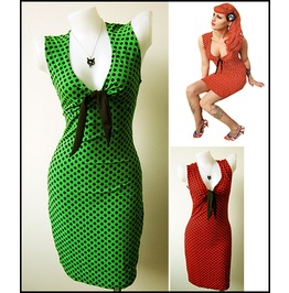 Mysterycat Dress Green // Red Polka Dot Retro Punk Rock Party Art Cocktail