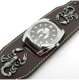 Brown Punk Rock Scorpion Gothic Quartz Wrist Watch Party Hour Mens Boy