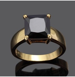 Enchanting! 10 Ct Gold Plated Black Square Sapphire Simulated Stone Ring Usa Size 7