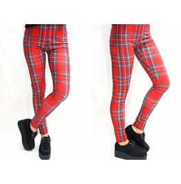 Punk Red Plaid Leggings