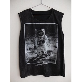 Astronaut Walk The Moon Fashion Punk Rock Stone Wash Vest Tank Top M
