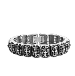 Crow Heart Titanium Stainless Steel Men Bracelet Rock Music Bracelet