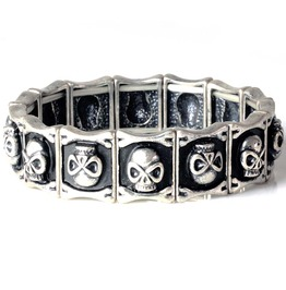 Silver Skull Tennis Bangle Black Elastic Bracelet Stretch Neutral Hallowmas