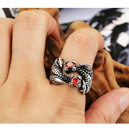 Classic Dragon Claw Ruby Opening Titanium Stainless Steel Men Ring Punk Ring