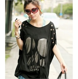 Fashion Women Batwing Sleeve Sexy Casual Loose Long Skull Top T Shirt Tee Blouse Black White Navy Blue