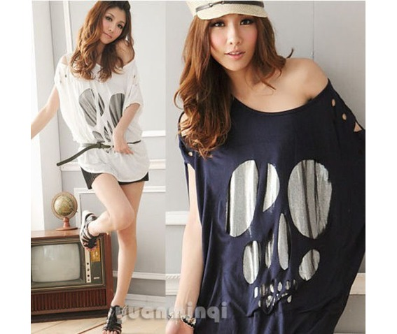 fashion_women_batwing_sleeve_sexy_casual_loose_long_skull_top_t_shirt_tee_blouse_black_white_navy_blue_shirts_4.JPG