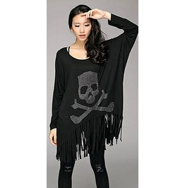 Women Long Sleeve Casual Tassel Skull Printed Loose T Shirt Tops Blouse