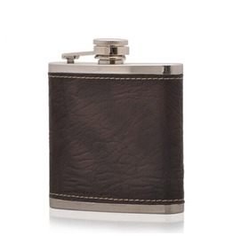 Leather Cover Stainless Steel Hip Flask S038