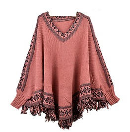 Cool! Salmon Dusky Pink Poncho One Size Uk Size 10/12