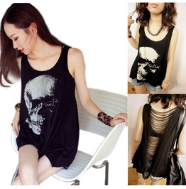 Punk Women Sexy Skull Tassel Backless Loose Casual Tank Vest T Shirt Tops Blouse Black Color
