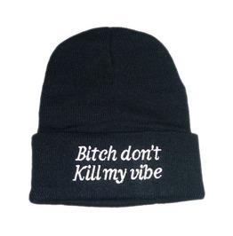 Bitch Don't Kill Vibe Black Beanie Winter Hat/Cap