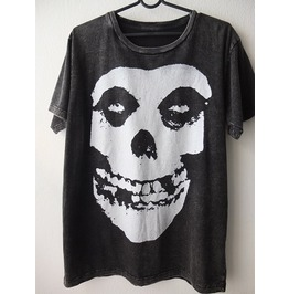 Skull Fashion Indie Punk Rock Stone Wash T Shirt M