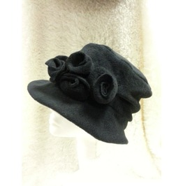 Black Victorian Style Hat Polar Fleece Brim Ad Flower Detail