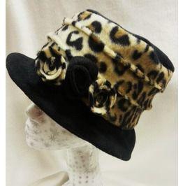 Black Leopard Print Polar Fleece Hat Flower Detail