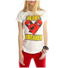 Abbey Dawn Women's Heartbreaker White T Shirt Avril Lavigne
