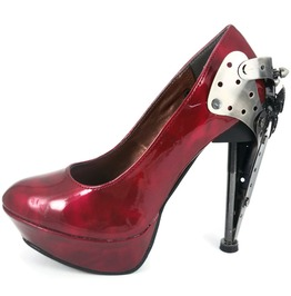 Hades Shoes Eiffel Women's Red Steampunk Stiletto Platforms