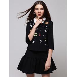 Stylish Printed Black Short Dress