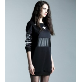Pu Leather Waist Star Print Black Short Dress
