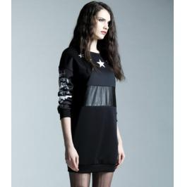 Pu Leather Waist Star Print Black Short Dress