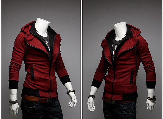 Men's Grey // Red // Black Mens Man Hoodies 34112