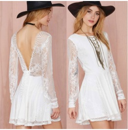 Sexy Backless Lace Long Sleeves White Short Dress