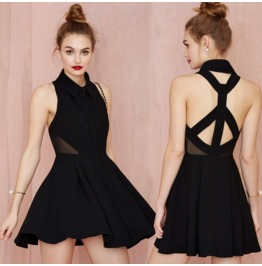 Sexy Backless Cross Strap Black Short Dress