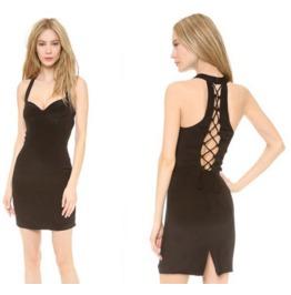 Sexy Deep Neck Sleeveless Cut Back Short Dress