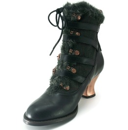 Hades Shoes Black Nephele Victorian Ankle Booties
