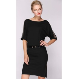 Stylish Gauze Sleeves Short Dress