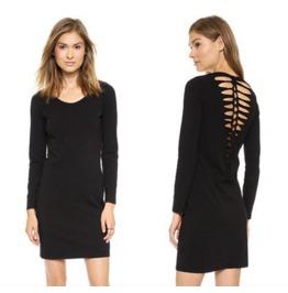 Sexy Cut Back Black Dress