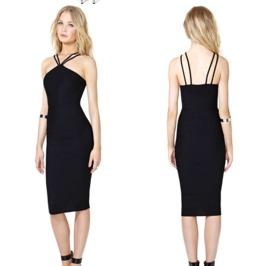 Sexy Backless Spaghetti Straps Black Dress