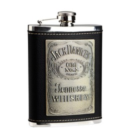 Leather Letters Black Stainless Steel Hip Flask S045