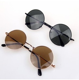 Goth/Steampunk Vintage Look Black/Brown Round Lens Sunglasses