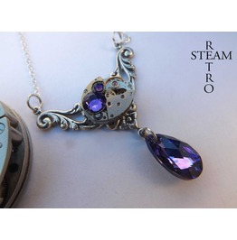 Rococo Inspired Steampunk Necklace Steampunk Jewelry Gift Boxed Swarovski Heliotrope Crystal Necklace