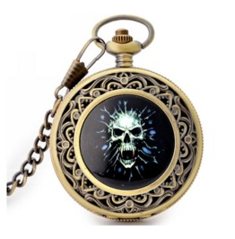 Vintage Green Skull Head Pocket Watch
