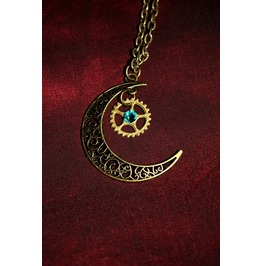 Another Item Steampunk Cogwheel Moon Brass Metal Pendant