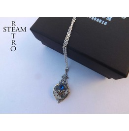 Art Deco Steampunk Capri Blue Necklace Steampunk Jewellery Steampunk Necklace Steamretro