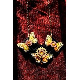 Another Item Monarch Butterfly Steampunk Alexander Mcqueen/ Hunger Games Inspired Necklace
