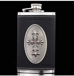 Cross Leather Stainless Hip Flask S048