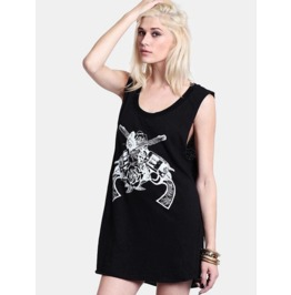 Guns Roses Print Short Dress