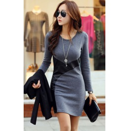 Slim Fit Pu Leather Short Dress