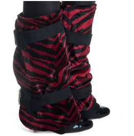 Red Black Zebra Boot Covers Winter Shoes Spats Steampunk Glam Goth Handmade