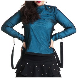 Baby Blue Cotton Black Fishnet T Shirt Bondage Girly Tee Punk Rock Handmade