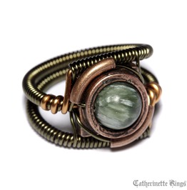 Steampunk Jewelry Ring Seraphinite