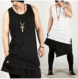 Striking Star Embroidery Accent Long Round Tank 14 (Black)